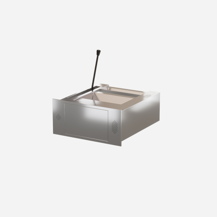 Cashfast Steel drawer with front end hatch and integrated speaker and microphone system.